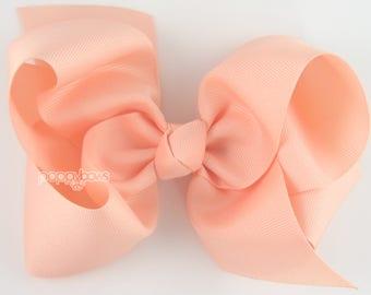 """Extra Large Hair Bow, 6"""" Peach Hair Bow, Girls Hair Bows 6 inch hair bows, big bow, giant bow, extra large bow, hair bows for girls xl cute"""