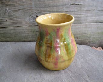 Hull Pottery Early Art Unusual Glaze Yellow and Pink Vase