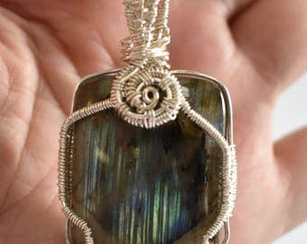 Labradorite Necklace - Silver Wire wrapped Pendant - Labradorite Healing Jewelry - Reiki Healing Jewelry - Crystal Healing Necklace