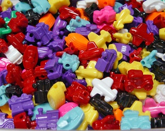 Trains Cars Boats Planes transportation shaped pony beads 25pc multi colors