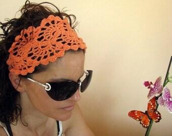 ON SALE 15 % SALE Crochet Headband -  Lace Hairband-  Summer Fashion Accessories - handcrochet headband in orange color