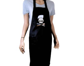 Chef Skull and Crossbones Embroidered Logo Pocket Black Chef Apron MTCoffinz - Ready to Ship