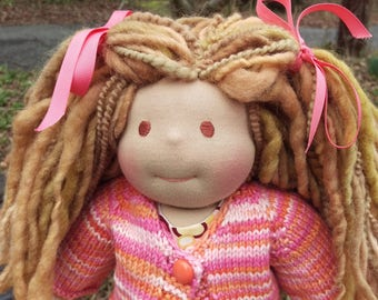 "Waldorf Doll - 12"" Girl - Ready to ship, Sandy Blonde/Light Brown Hair and Brown Eyes"