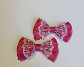 Pink set of 2 bows and lace 5.5 cm