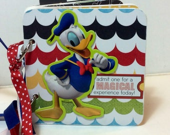 Disney premade pages chipboard scrapbook mini album  Mickey Mouse Donald Duck vacation birthday