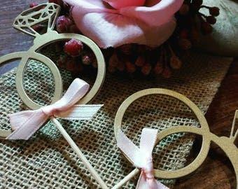 Diamond Ring Cupcake topper 12CT- Bridal Shower- Wedding- Engagement- Bachelorette- Custom Colors Available