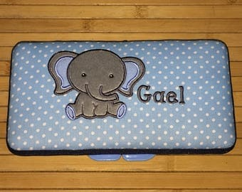 Personalized Baby Boy Elephant Wipe Case