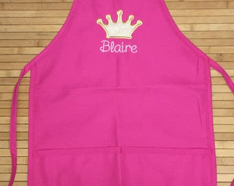 Kids Embroidered Princess Gold Crown CHEF APRON Personalized Free