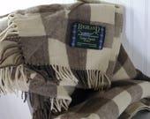 HIGHLAND Wool Throw Scotland Brown & Bone Beige Check
