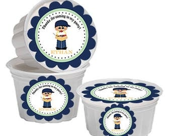 Ice Cream Cups Labels, Ice Cream Labels, Ice Cream Lid Labels, Ice Cream Party Labels, Little Boy Ice Cream Social. Set of 24.
