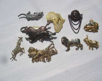 Lot of 9 African Animal Pins