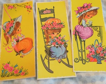 70s child big eyed girl note cards