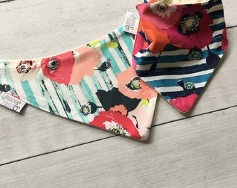 FREE US SHIPPING Bandana Bibs (set of 2) Skopelos Striped Watercolor Floral in Pastel and Crimson