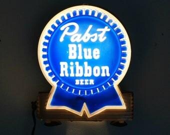 Vintage Beer Sign, Pabst Blue Ribbon, Beer Sign Light, Pabst Bar Light, Man Cave Wall Art
