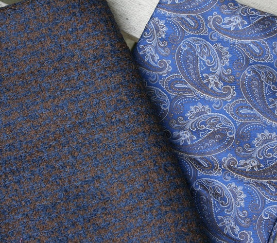 Stunning piece of British woven silk plus a piece of vintage wool mix tweed in shades of navy, chocolate and cobalt blue