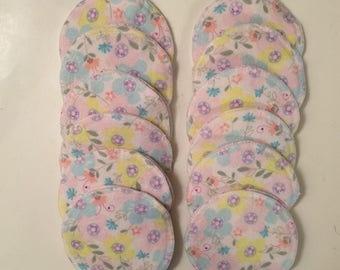 Nursing pads/Facial Wipes 12 sets (24 total) made with 4 layers of 100% cottlon flannel Pastel Flower Pattern