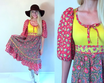 vintage 70s CALICO bright yellow PRAIRIE DRESS xs boho hippie festival puff sleeve dolly floral paisley print