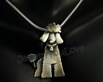 Sterling Silver French Poodle Necklace  -  Lacie