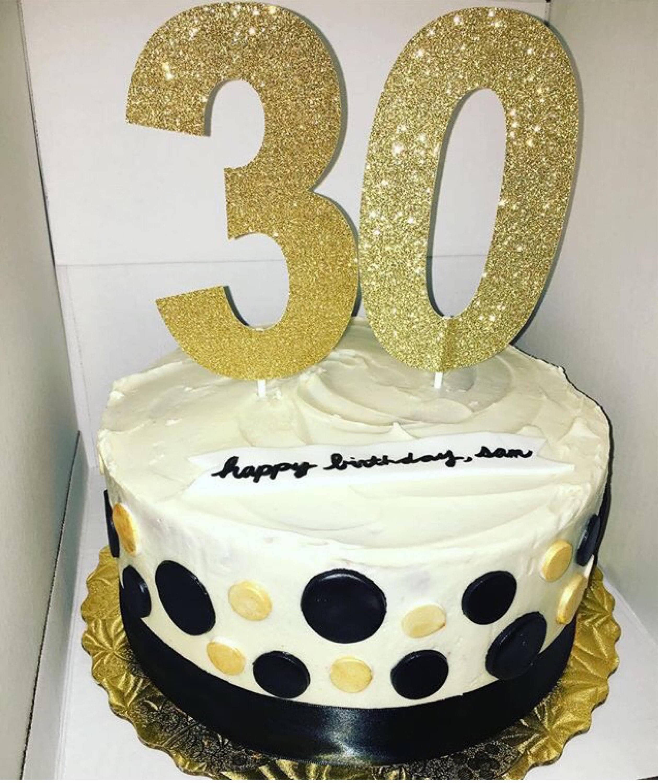 Gold Cake Topper 16 18 21 30 40 50 60 Glitter Birthday Cake