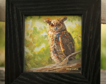 Sweetbriar Great Horned Owl (original oil on canvas)