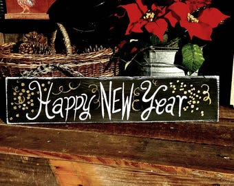 Happy New year sign,Chinese New year sign,winter wood decor,outdoor new years decoration,door hanger,new years gift,New years decoration