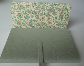 Leather Journal Leather Notebook Travel Journal Pistachio Fine Grained Leather with a Beautiful Floral Decorative Paper.