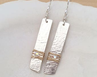 Two Tone Sterling Silver and 14k Gold Filled Earrings with Swarovski Crystals, Medium Size