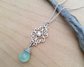 Silver Filigree Pendant with Pearl and Aqua Chalcedony, Argentium, Sterling
