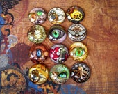 Steampunk Collage Cabochons  (L25) Jewelry and Craft Supply, Lot of 12, Digital Image Under Glass Cabochon, 25 mm size