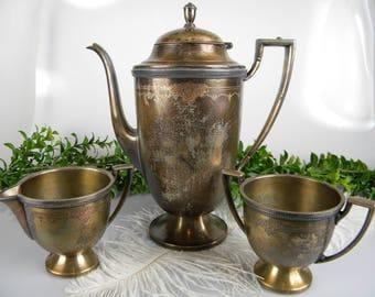 SALE Tea Pot with Sugar and Creamer Set - Antique Wm.Rogers Eagle and Star hallmark - PRISCILLA 6201 Hand Engraved - Antique Collectible