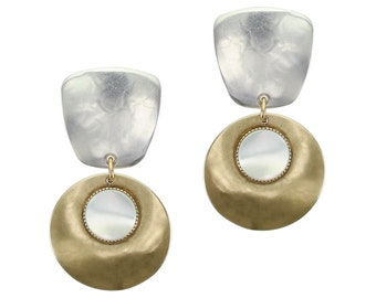 Two Tone Tapered Square with Disc and Mother of Pearl Disc Clip on Earring