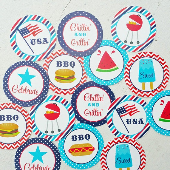 50 off sale memorial day cupcake toppers printable red white