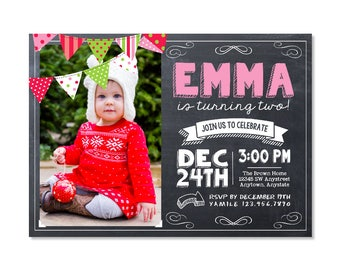 Christmas Birthday Invitation with photo