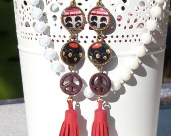 The Beatles Handmade Resin Dangle Earrings - B&W - Long Earrings - The Beatles Jewelry - Pop Rock Music - Festival Music Earrings