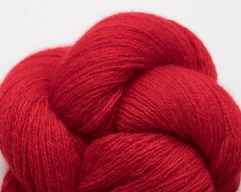 Cardinal Red Recycled Cashmere Lace Weight Yarn, CSH00278