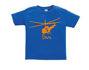 Helicopter Personalized Birthday Shirt for kids - any name - you pick the colors!