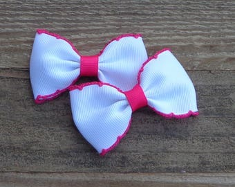 Set of 2 Pigtail Bows~Easter Hair Bows~Small Pigtail Hair Bows~Pink Hair Bow~ Hair Bows~Baby Hair Bows~Small Boutique Bows~Tuxedo Bows