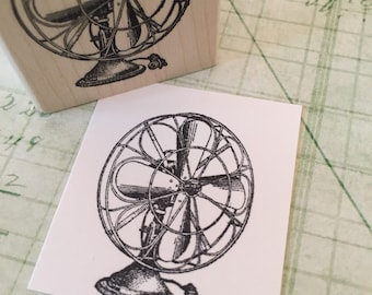 Antique Fan Rubber Stamp