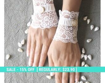 SUMMER SALE Wedding lace gloves short bridal cuffs
