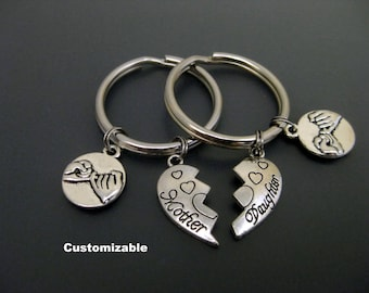 Mother Daughter Keychain / Mother Daughter Key Ring  / Set of Two / Pinky Promise Keychain / Gift for Mother Daughter /  Custom Keychain