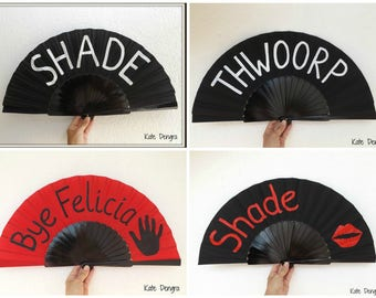Shade Thwoorp Any Word Any Color Any Font You Decide Supersize Large Hand Fan Folding Wooden Handheld Painted by Kate Dengra Spain