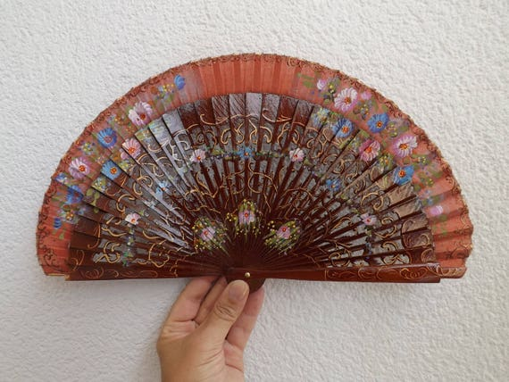 Traditional Brown Floral Design Spanish Hand Fan Limited Edition