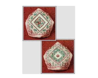 Cross Stitch Kit Holiday Holly Biscornu 5 x 10 inches, Christmas Cross Stitch, Pin Cushion Kit from The Sweetheart Tree