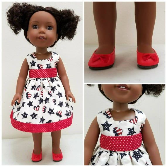 Red, White and Blue Dress for Wellie Wishers Dolls