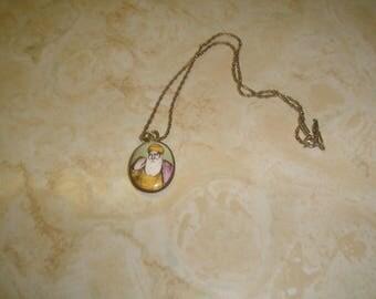 vintage necklace goldtone chain old time santa enamel