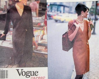 Easy Vintage Anne Klein II Sewing Pattern Vogue Career 2770 Knee Length Wrap Wrapped Dress Womens Miss Size 8 10 12 Bust 31 32 34 Uncut FF