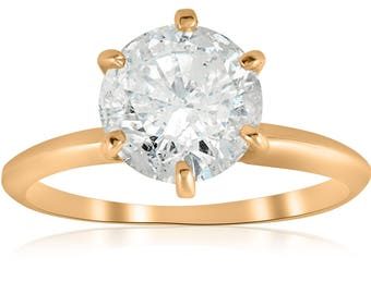Vintage Diamond Engagement Ring 2 1/2 ct Round Solitaire Diamond Engagement Ring 14k Yellow Gold Enhanced