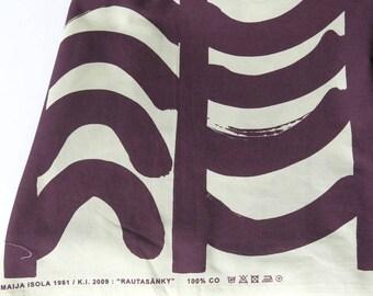 Marimekko Fabric Panel Rautasanky by Mija Isola 1961 Plum and White 36 by 57 Inches  938b