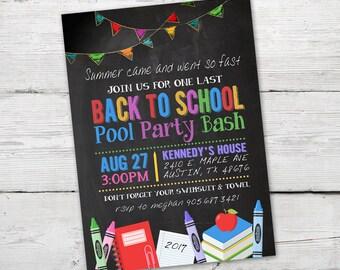Back to School Party Invitation, Back to School Invitation, DIGITAL, Printable, Chalkboard Back to School Invitation, End of Summer Party