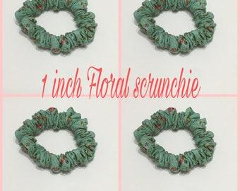 Floral Hair Scrunhie/ 1 inch floral Hair Scunhie/ Cotton Hair Scrunhies